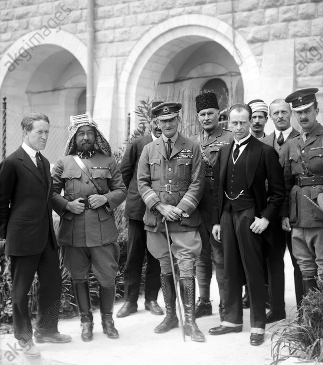 Palestine: Lt Col T. E. Lawrence, Emir Abdullah, Air Marshal Sir Geoffrey Salmond, Sir Herbert Samuel H.B.M. high commissioner and Sir Wyndham Deedes and others in Jerusalem, 1920